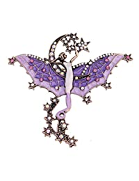 Vintage Moon And Stars Brooch Enamel Angel Bat Brooches For Women