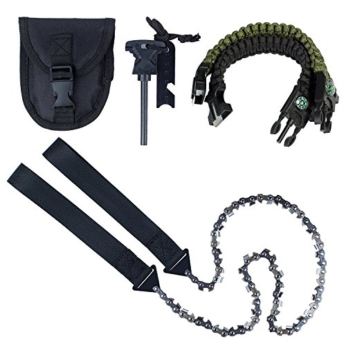 Justech 24Inch Pocket Chainsaw 33pcs serrated Hand Gear Chain Saw With Firestarter Carrying Pouch and Paracord Bracelet Best Folding Hand Saw Tool for Survival, Camping, Hunting, Tree Cutting or Emerg by Justech