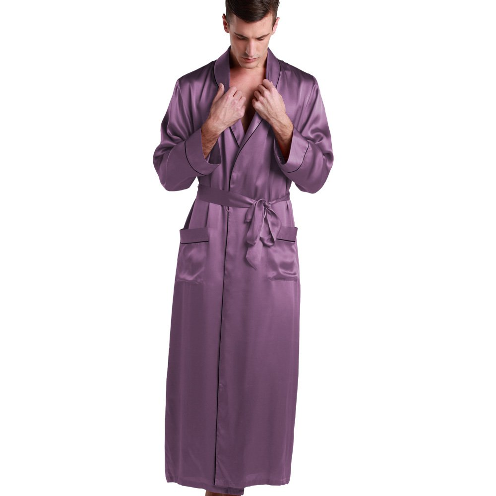 LilySilk Mens Pure Silk Robe 22 Momme Bath Robes Luxury Contra Full Length 100 Natural Pure Silk us2302