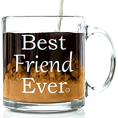 Best Friend Ever Glass Coffee Mug - Unique Valentine's Day Gift For Your Best Friend - Perfect Long Distance Friendship, Valentines or Birthday Present Idea For Men & Women, Him or Her