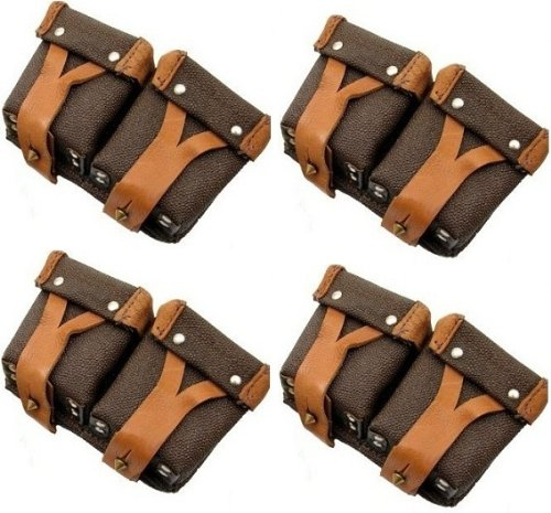 Ultimate Arms Gear Set Of 4 Original Russian Military Surplus Mosin Nagant M38 M44 91/30 1891 91 30 7.62x54 Leather Srap Cartridge Ammo Ammunition Rounds Dual Pouch Pouches - Collection Gunstock