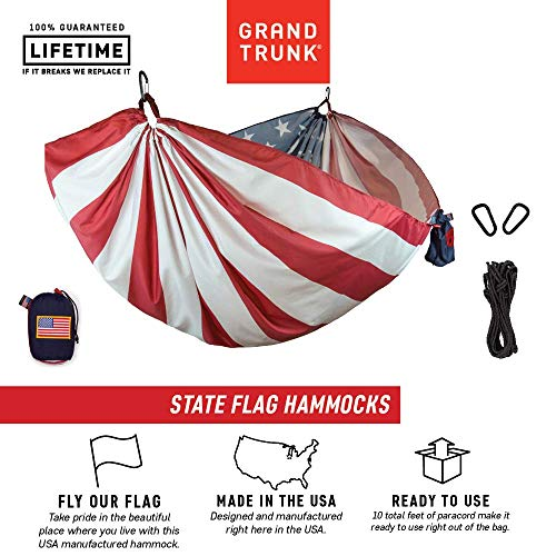 Grand Trunk USA Flag Hammock - Camping Single, Tree Hanging Kit Included, Parachute Nylon, Portable, Indoor Outdoor, Travel, Backpacking, Survival