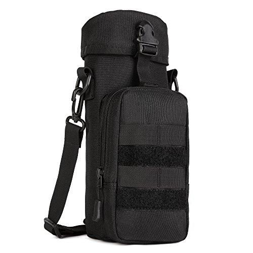 (ArcEnCiel Molle Outdoors Tactical Shoulder Bag Gear Water Bottle Pouch Kettle Waist Back Pack for Army Fans (Black))