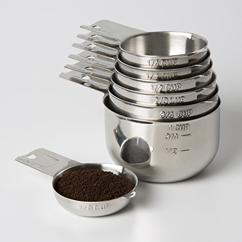 Measuring Cups 7 Piece with New 1/8 cup (Coffee Scoop) by KitchenMade-Stainless Steel-Nesting set.