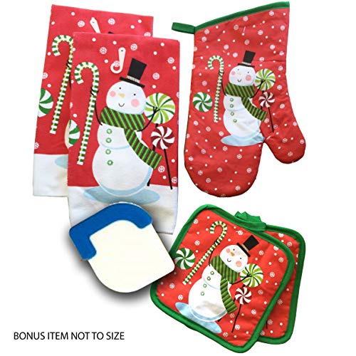 Pot Snowman Holder - Dublins Treasure Isle Kitchen Linen Set (Includes: one oven mitt, two pot holders, two dish towels and Christmas Lights) (Red Snowman)