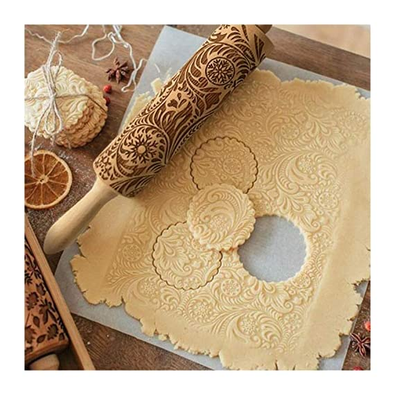 """Paisley Embossed Rolling Pin 16"""" Engraved Rolling Pin for Baking + Cute and Lightweight Wooden Rolling Pin for Kids and Adults to Make Cookie Dough – Attractive Professional Cookie Angel Food 3 START HAVING FUN IN THE KITCHEN WITH ALL YOUR FAMILY. Our textured rolling pin 16 Inch is very easy to use, so have some fun using this engraved rolling pin with your whole family. This embossed rolling pin can be used for fancy pastry decorations, cake decorations, shortbreads, basic biscuits, play dough, and even clay. This wood rolling pin can also be used as a kid's toy. EASY TO CLEAN:You only need to wash under running water and dry in the air,they will not take up too much space in the kitchen drawer ROLLING-PINS can be a really nice housewarming and pretty gift for your friends, kids and your kitchen."""
