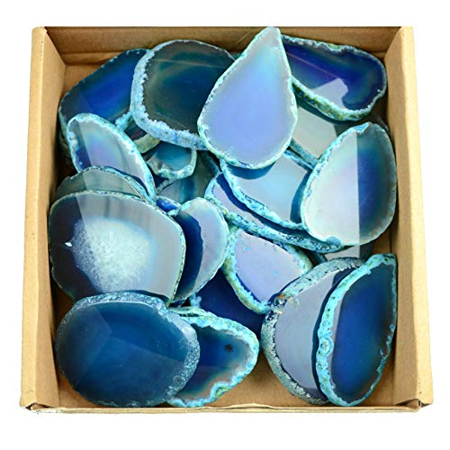 FHNP367 30 Pieces Agate Slices Stone Slab 2-3 in Length for Wedding Name Cards Namecards Place Cards - Blue