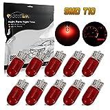 Partsam T10 194 Instrument Panel Halogen Bulbs Dashboard Gauge Cluster Indicator Light, Red, Pack of 10