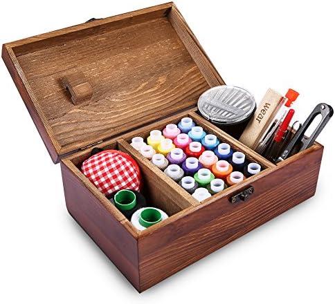 Caja de costura de madera retrospectiva que incluye los accesorios del kit de costura, Muzee Cesta retra del organizador de costura elegante del estilo retro de Wozee: Amazon.es: Hogar