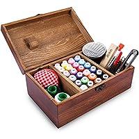 Caja de costura de madera retrospectiva que incluye