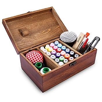 Caja de costura de madera retrospectiva que incluye los accesorios del kit de costura, Muzee Cesta retra del organizador de costura elegante del estilo ...