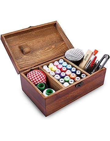 Caja de costura de madera retrospectiva que incluye los accesorios del kit de costura, Muzee