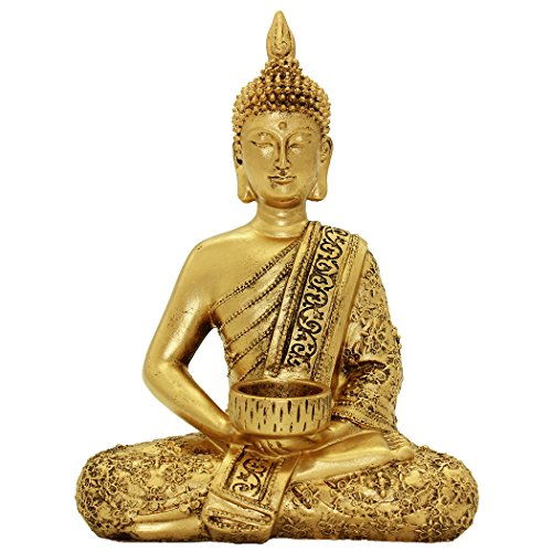 Resin Thai Buddha Statue Home Ornaments Wealth Lucky Figurine BS120 by Brass Statu