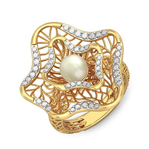 14K Or jaune, 0,31carat Diamant Blanc (IJ | SI) Blanc cassé Perle et diamant Bague