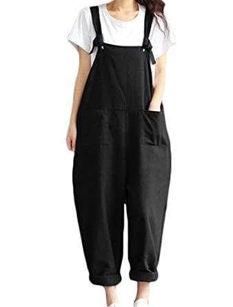 b8cc723a1ff Faithtur Women s Summer Casual Spaghetti Strap Cotton Linen Jumpsuits  Rompers Overalls (Label 2XL   US