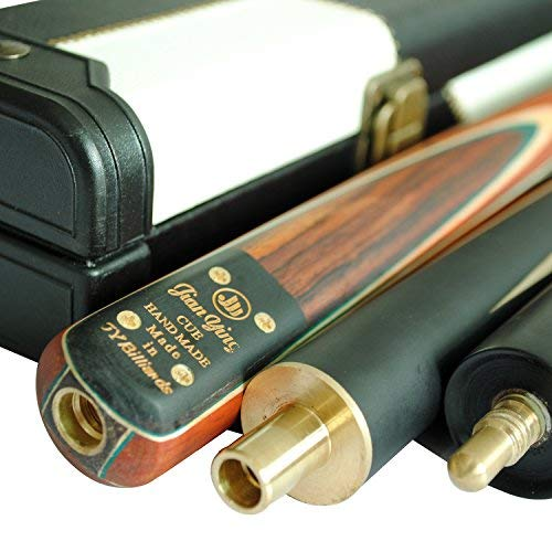 (Y&J JY Handmade 57 inch 3/4 Snooker Cue Kit 5-Face Splice 9.5mm Tip Ash Shaft with Leather Case Pool Billiard Cue Stick Sets (T3SC69 57