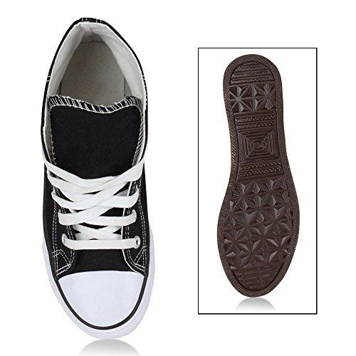 Stiefelparadies Sportschuhe Flandell Schnürschuhe Schuhe Glitzer Damen Schnürer Autol Canvas High Schwarz Stoff Turnschuhe Freizeit Sneaker Zq4rSnZ