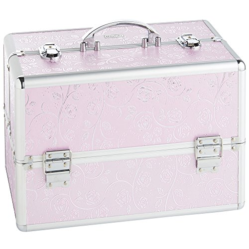 Beautify Large Pink Rose Makeup Cosmetic Organizer Train Case 14