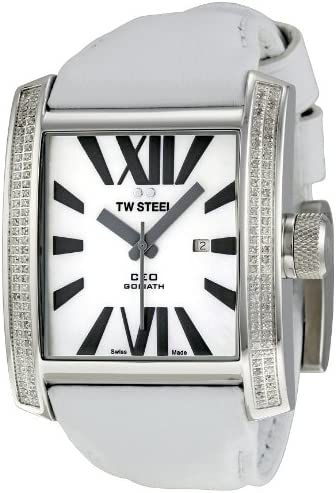 TW Steel Men s CE3015 CEO Goliath White Leather Strap Watch