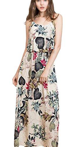 1 Dresses Ruffled Women's Jaycargogo Summer Spaghetti Strap Maxi Floral Beach w8S7Sz