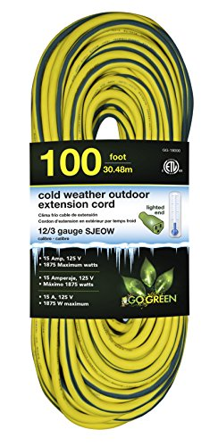 GoGreen Power GG-18000 12/3 100' SJEOW Cold Weather Extension Cord, Yellow - UL Approved