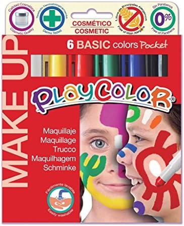vrzpopi ベーシックメイクアップポケットフェイスペイントスティックPlaycolorクリエイティブ子供クレヨン顔に描く無毒なボディーペインティング化粧ペン6パック