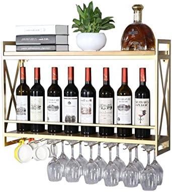 Botella de vino Rack Europeo De Hierro Forjado Estante Del Vino Colgante De Pared De Madera Maciza Vinoteca Gabinete De Vidrio Vino Vino Colgante Estante De Vidrio Creativo Restaurante Decoración (oro