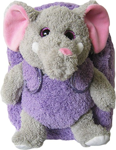 Kreative Kids Adorable Purple Elephant Plush Backpack w/ Shiny Eyes and Removable Stuffed Animal
