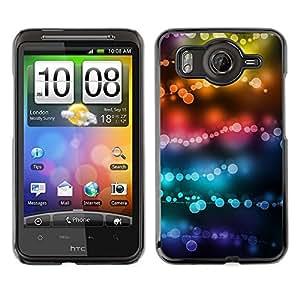 Cubierta de la caja de protección la piel dura para el HTC DESIRE HD / G10 - lights colors teal black focus blur
