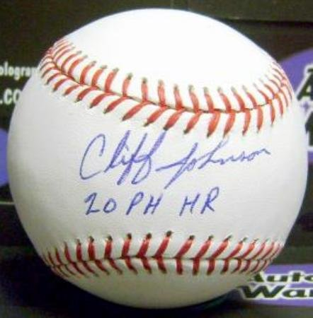 Autograph Warehouse 301761 Cliff Johnson Signed Baseball Inscribed 20 PH HR - Pinch Hit Home Runs Yankees World Series Astros Cubs Blue Jays OMLB from Autograph Warehouse