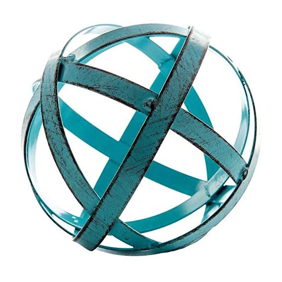Blue Metal Band Decorative Sphere - Featuring a slightly distressed blue, this lattice metal sphere is perfect for filling large glass bowls, vases and more Display it in your home for a simple, yet interesting touch Can be used to compliment your current decor scheme or make it the focal point of the room - living-room-decor, living-room, home-decor - 51NwHlIx7hL. SS570  -