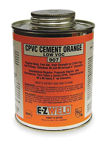 (Ez Weld CPVC Cement, Orange, 16 oz., for CPVC Pipe And Fittings - 20703, Pack of 2)