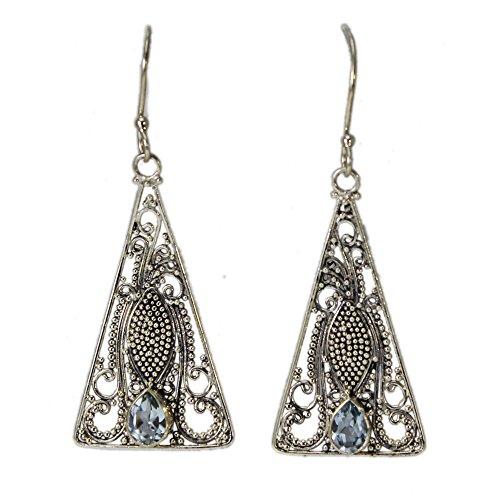 Sterling Silver Filigree Triangle Blue Topaz Earrings