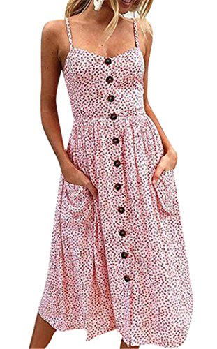 Floral Beach Dress for Women Spaghetti Strap Sundress Button Up Swing Dresses 3X-Large 21-Pink (Many Buttons)