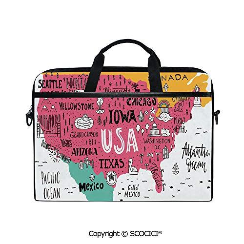 Printed Waterproof Laptop Shoulder Messenger Bag Case American Cities Calligraphy on Plan Arizona New York Chicago Cartoon for 15 Inch Laptop Notebook