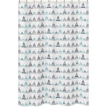 Sweet JoJo Designs Bathroom Fabric Bath Shower Curtain For Bear Mountain Watercolor Collection Good