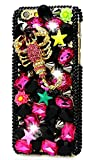 STENES iPhone 7 Plus Case - [Luxurious Series] 3D Handmade Shiny Crystal Sparkle Bling Case with Retro Bowknot Anti Dust Plug - Red Crystal Scorpion Star Flowers/Black