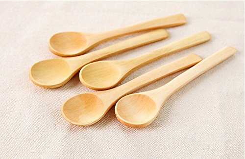 (Dealglad® 5 Pcs Handmade Small Wooden Spoon Honey Teaspoon Seasoning Coffee Tea Sugar Salt Jam Mustard Ice Cream Spoons)