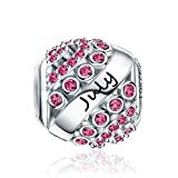 Forever Queen July Birthstone Charms for Pandora Charms Bracelet- 925 Sterling Silver Bead Openwork Charms, Happy Birthday Charms for Bracelet and Necklace FQ0004-7