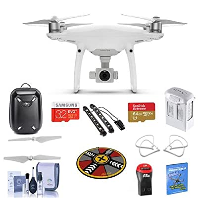 "DJI Phantom 4 Pro+ Basic Kit - Bundle with DJI Plastic Case, 64/32GB MicroSDXC Card, Spare Battery, Quick-Release Propellers, Propeller Guard, 32"" Collapsible Pad, Polar LED Light Bars, And More"