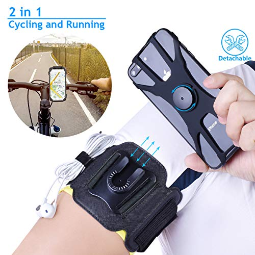 2 in 1 Cell Phone Armband for Running Detachable with Bike Phone Mount Silicone, 360° Rotatable Sports Armband…