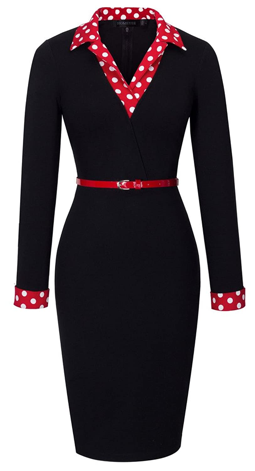 5fc477b21 Style: Elegant Bodycon Casual Party Wear to Work Dress Feature: Long Sleeve  & Knee- Length & Turn Down ...