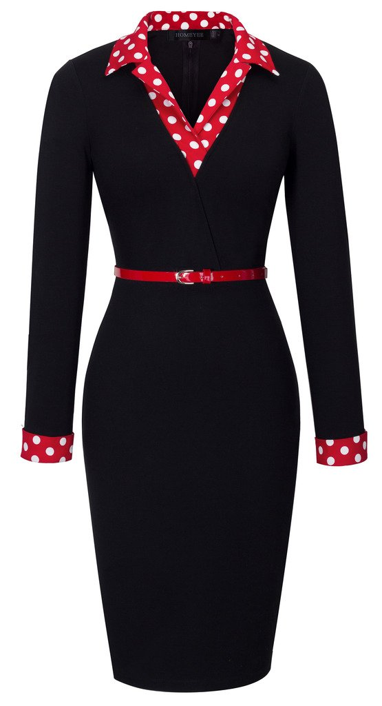 HOMEYEE Women's 1950s Vintage Turn Down Collar Black Pencil Business Dress B334 (4, Black)