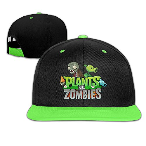 YOUDEE Kid's Plants Vs Zombies Plain Adjustable Snapback Hats Caps KellyGreen (Zombie Clothing)