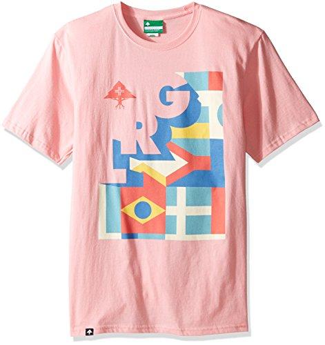 LRG Men's Big and Tall Check and Turn Tee, Light Pink, 4XL