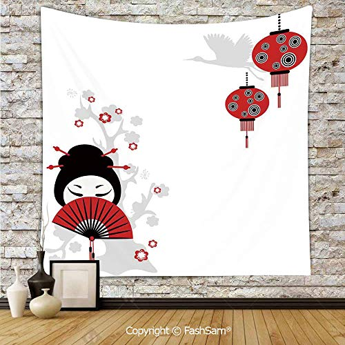 Polyester Tapestry Wall Geisha Holding Japanese Fan Floral Landscape Crane Bird Happiness Classical Illustration Hanging Printed Home Decor(W51xL59)