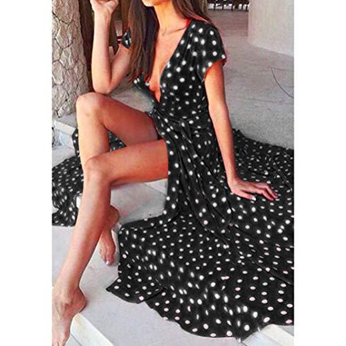 Kimodo Femmes De La Mode Polka Dot Robe De Plage Manches Longues Longue Partie Boho Noir Robe D'été
