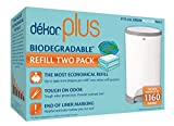 Dekor Plus Diaper Pail Biodegradable Refills | Most Economical Refill System | Quick and Simple to Replace | No Preset Bag Size – Use Only What You Need | Exclusive End-of-Liner Marking | 2 Count