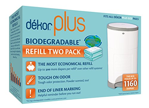 Diaper Dekor Plus Diaper Pail Liner Refills Biodegradable, 2 Count