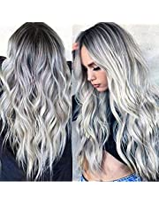 SILIN Ombre Silver Grey Wavy Wigs for Women, Heat Resistant Fiber Hair Wigs For Women Costume Cosplay Wigs